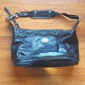 Coach   Stitched Patent Leather Satchel Bag   Blk